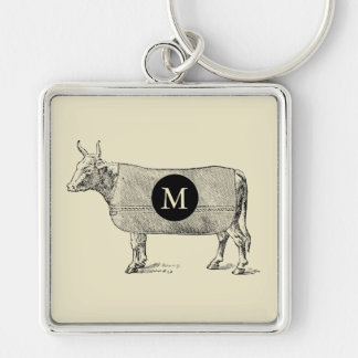 VINTAGE ILLUSTRATION Cow Blanket Monogram Custom K Keychain