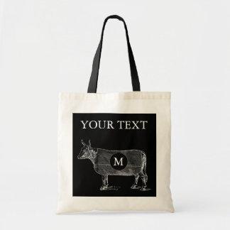 VINTAGE ILLUSTRATION Cow Blanket Monogram Tote Bag