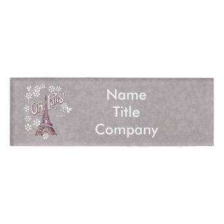 Vintage Illustration Eiffel Tower Paris Daisies Name Tag