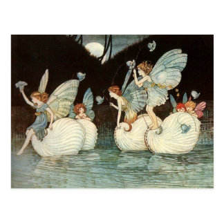 Vintage Illustration Fairies at Night Postcard