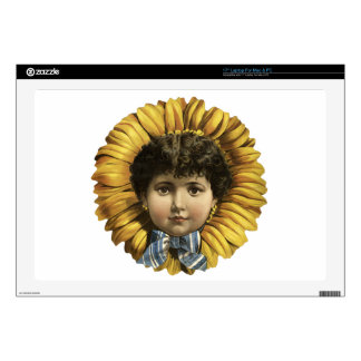 "Vintage Illustration Flower with a girl's face 17"" Laptop Decal"