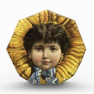 Vintage Illustration Flower with a girl's face Award