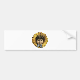 Vintage Illustration Flower with a girl's face Bumper Sticker