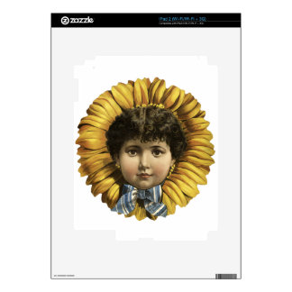 Vintage Illustration Flower with a girl's face iPad 2 Skin
