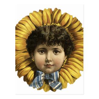 Vintage Illustration Flower with a girl's face Postcard