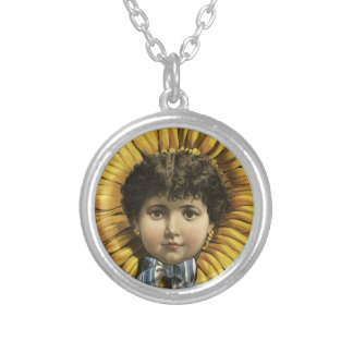 Vintage Illustration Flower with a girl's face Round Pendant Necklace
