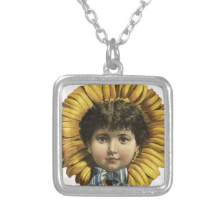 Vintage Illustration Flower with a girl's face Square Pendant Necklace