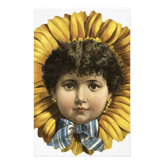 Vintage Illustration Flower with a girl's face Stationery