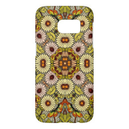 Vintage Illustration Flowers Butterflies Pattern Samsung Galaxy S7 Case