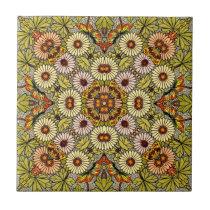 Vintage Illustration Flowers Butterflies Pattern Tile