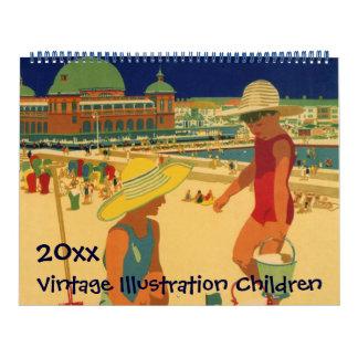 Vintage Illustration Fun Kids and Babies Playing Calendar