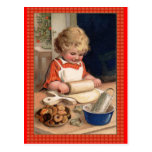 Vintage Illustration Girl Baking Christmas Cookies Postcard