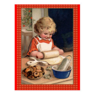 Vintage Illustration Girl Baking Christmas Cookies Postcard