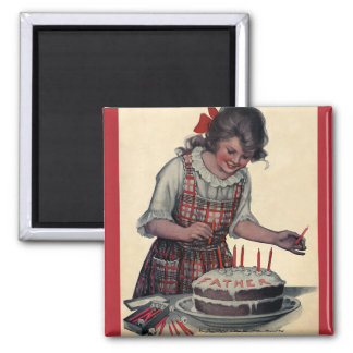 Vintage Illustration Happy Birthday Party Father 2 Inch Square Magnet
