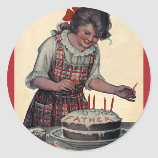 Vintage Illustration Happy Birthday Party Father Classic Round Sticker