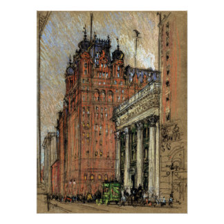 Vintage Illustration Historic Buildings New York Poster