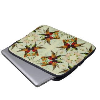 Vintage Illustration Hummingbirds and Flowers Laptop Sleeves