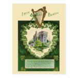 Vintage illustration - Irish Castle and Harp Postcard