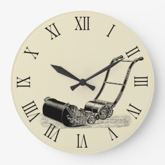 Vintage Illustration Lawn Mower Roman numerals C Large Clock
