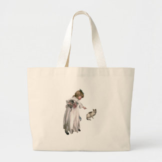 Vintage Illustration ~ Little Girl and Cat Tote Bags
