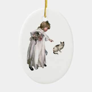 Vintage Illustration ~ Little Girl and Cat Ceramic Ornament
