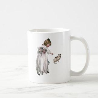 Vintage Illustration ~ Little Girl and Cat Coffee Mug