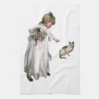 Vintage Illustration ~ Little Girl and Cat Hand Towels