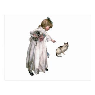 Vintage Illustration ~ Little Girl and Cat Postcard