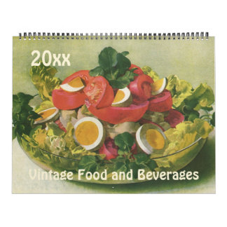 Vintage Illustration Meals, Foods and Beverages Calendar