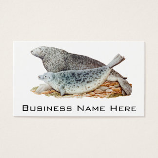 Vintage Illustration Mother and Baby Seal Business Card