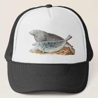 Vintage Illustration Mother and Baby Seal Trucker Hat