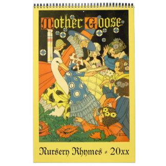 Vintage Illustration Mother Goose Nursery Rhymes Calendar