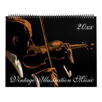 Vintage Illustration Musicians and Music Themes Calendar