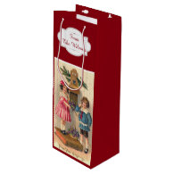 vintage illustration new years wine bags wine gift bag