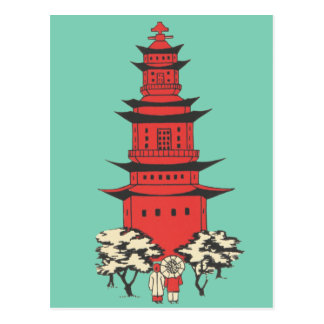 Vintage Illustration of a Chinese Pagoda Postcard