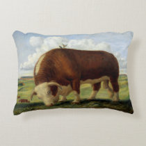 Vintage illustration of a Hereford cow and bull Accent Pillow