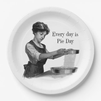 Vintage illustration of a lady baking paper plate