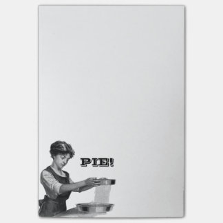 Vintage illustration of a lady baking post-it notes