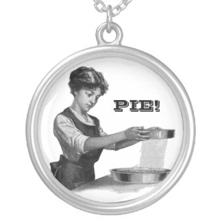 Vintage illustration of a lady baking silver plated necklace
