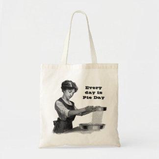 Vintage illustration of a lady baking tote bag