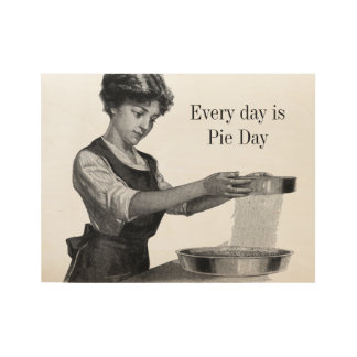 Vintage illustration of a lady baking wood poster