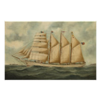 Vintage Illustration of a Large Sailing Yacht Poster