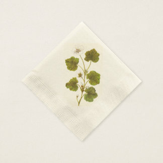 Vintage Illustration of a Round Leaved Mallow Napkin