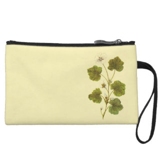 Vintage Illustration of a Round Leaved Mallow Wristlet Clutches