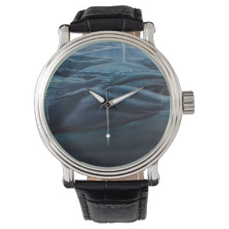 Vintage Illustration Of A Whale, Blue Graphic Wrist Watches