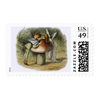 Vintage Illustration of an Elf Kissing A Fairy Postage
