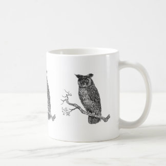 Vintage Illustration of an owl sitting on a branch Coffee Mug