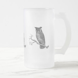 Vintage Illustration of an owl sitting on a branch Frosted Glass Beer Mug