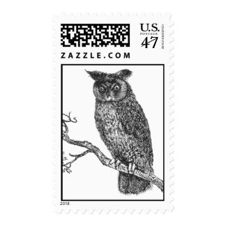 Vintage Illustration of an owl sitting on a branch Postage