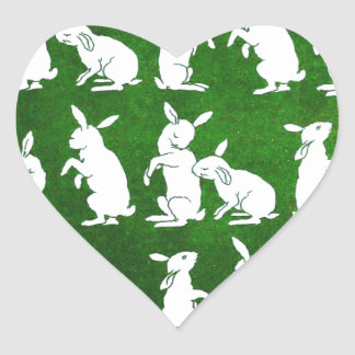 Vintage Illustration of Bunnies on Green Heart Sticker